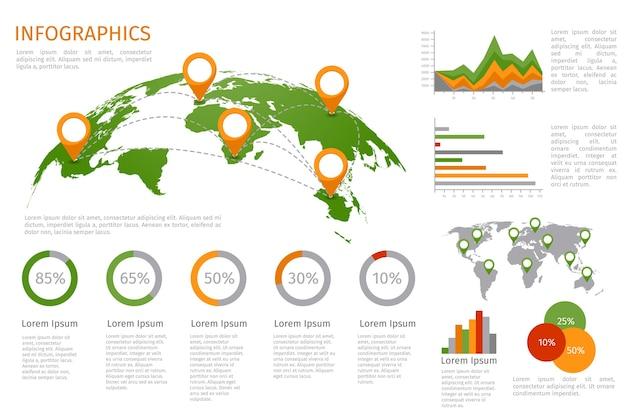 Mappa del mondo 3d con set di elementi di infografica. informazioni di progettazione, grafico commerciale e grafico. Vettore gratuito