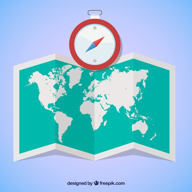 World map and compass in flat design vector free download world map and compass in flat design free vector gumiabroncs Gallery