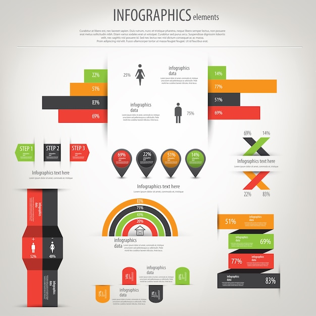世界地図と情報グラフィック Premiumベクター