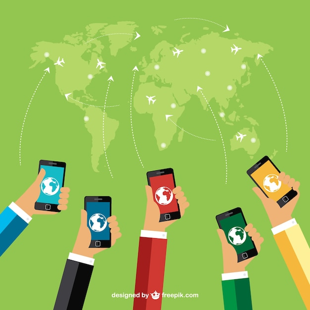 World map and mobile phones vector free download world map and mobile phones free vector gumiabroncs