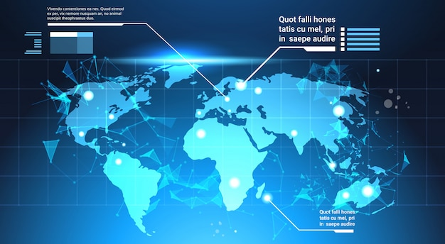 World map background, set of computer futuristic infographic elements tech template charts Premium Vector