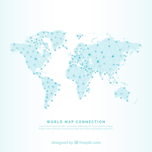 World map background with lines and dots Vector Free Download