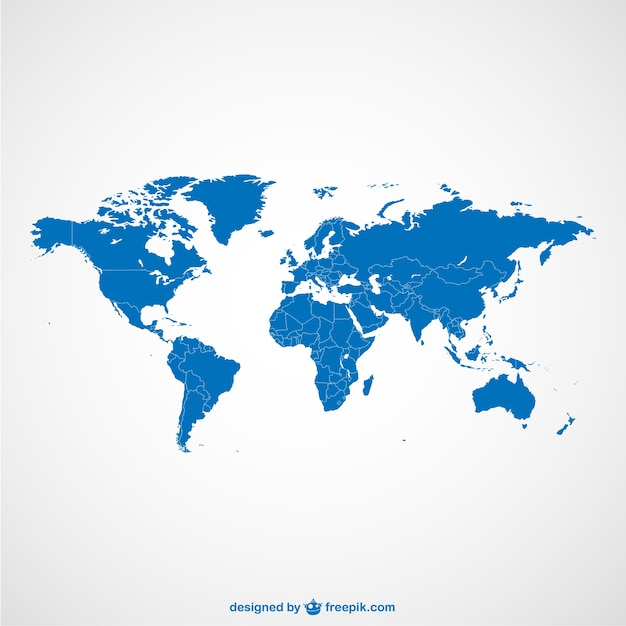 World Map Blue Template Vector Free Download