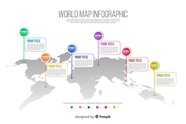 World map business infographic Free Vector