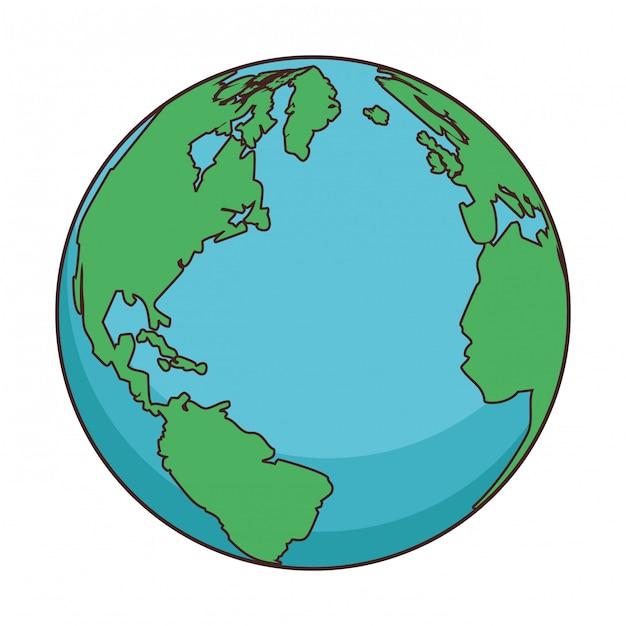 Мультфильм карта мира Premium векторы