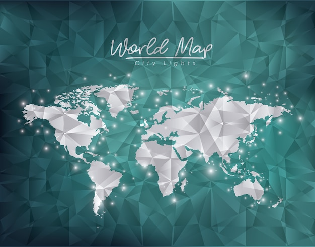 world map city lights in green degraded premium vector