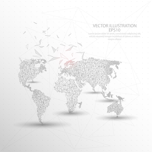 World map digitally drawn low poly triangle wire frame vector world map digitally drawn low poly triangle wire frame premium vector gumiabroncs Image collections