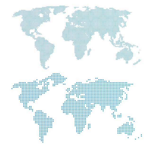 World map in dots, blue color. Premium Vector