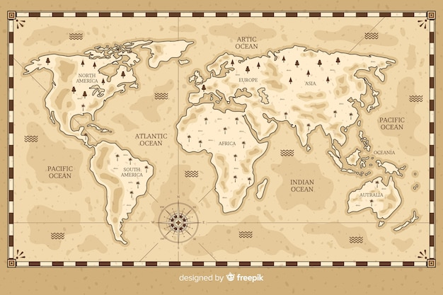 World map drawing in vintage style Free Vector