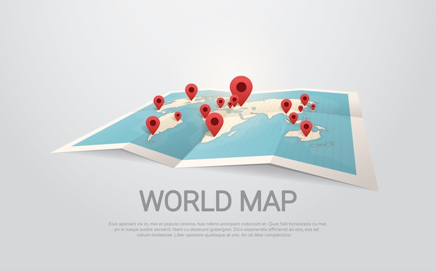 World map earth with pins travel concept Premium Vector