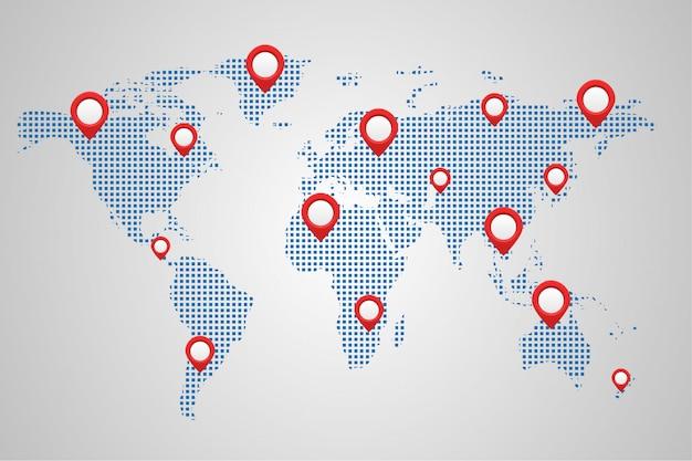 Карта мира земля с булавками Premium векторы