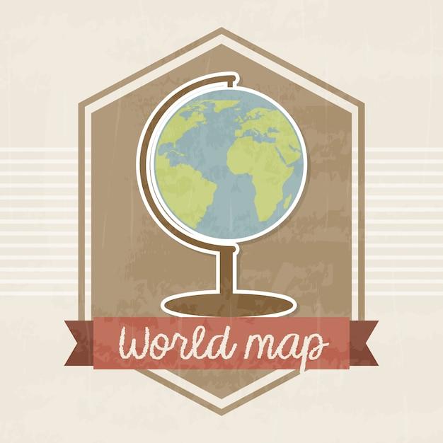 World map frame over vintage backround vector illustration Premium Vector