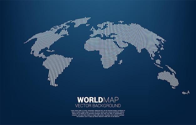 グローバルイラストレーションの正方形ピクセルの概念からの世界地図 Premiumベクター