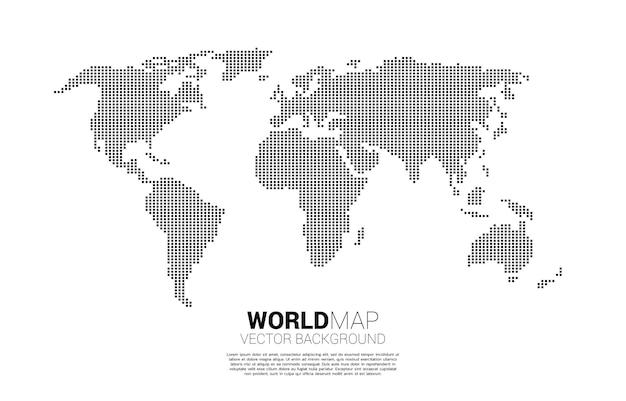 正方形のピクセルからの世界地図。 Premiumベクター