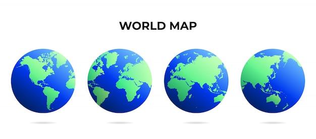 Карта мира глобус различные точки зрения Premium векторы