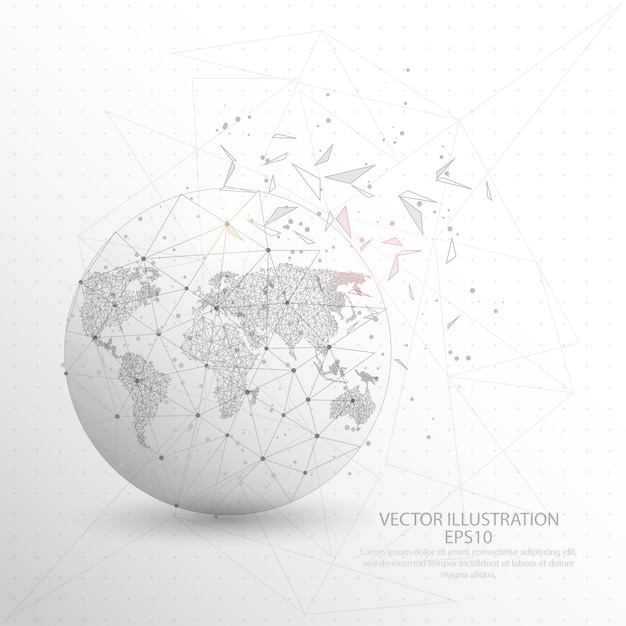 World map globe digitally drawn low poly triangle wire frame vector world map globe digitally drawn low poly triangle wire frame premium vector gumiabroncs Image collections