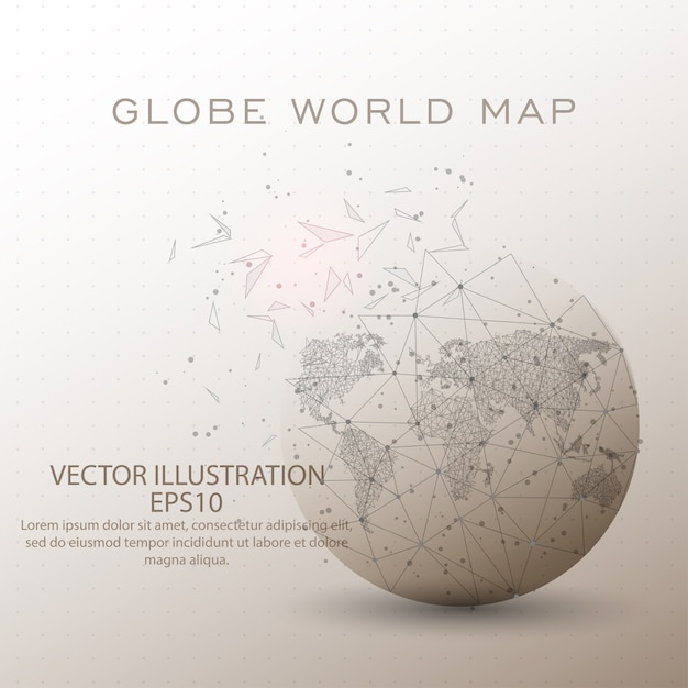World map globe low poly wire frame. Premium Vector