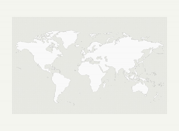World map on gray circle dot pattern on white background Premium Vector