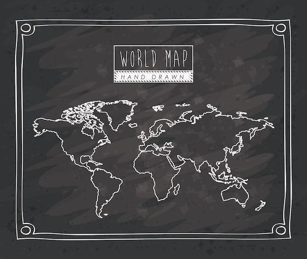 Карта мира ручной обращается монохромный силуэт Premium векторы