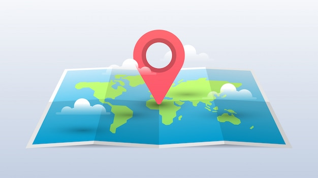 World map illustration with pin and clouds Premium Vector