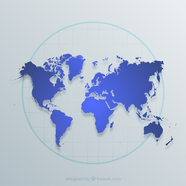 World map in blue tones Free Vector