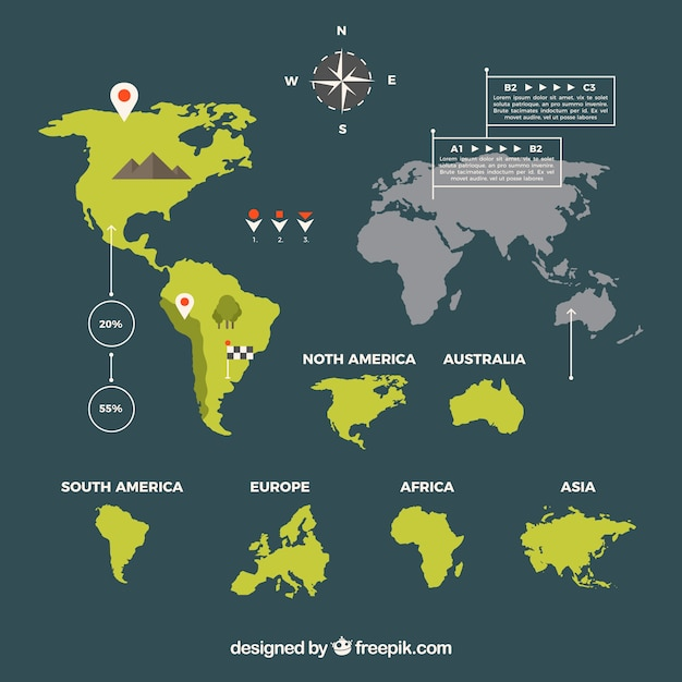 World map in flat design with infographic elements Free Vector