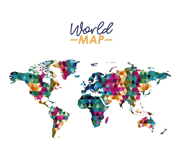 World map in geometrical colorful shape silhouette vector premium world map in geometrical colorful shape silhouette premium vector gumiabroncs Gallery