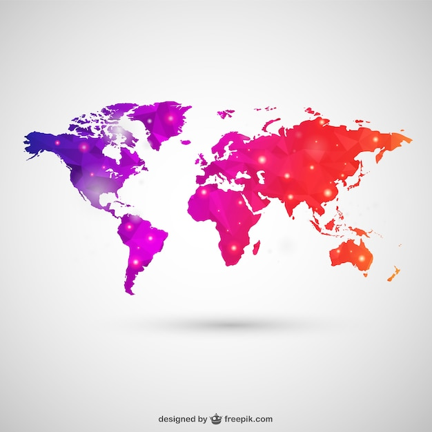 World map in polygonal style vector free download world map in polygonal style free vector gumiabroncs Gallery