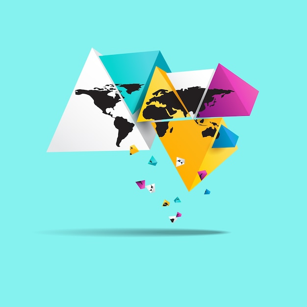 World map in triangle shape vector premium download world map in triangle shape premium vector gumiabroncs Image collections