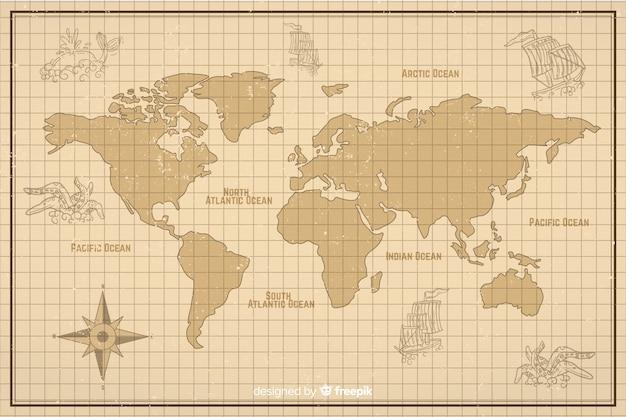 ビンテージデジタルスタイルの世界地図 無料ベクター