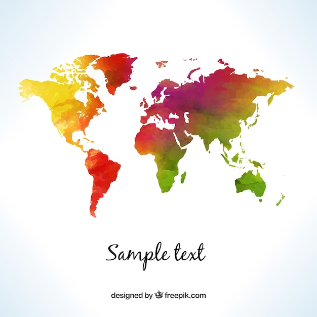 World map in watercolor style vector free download world map in watercolor style free vector gumiabroncs Image collections