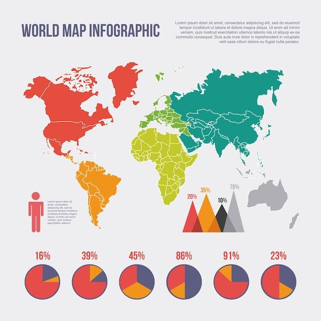 World map infographic chart statistics percent population vector world map infographic chart statistics percent population premium vector ccuart Images