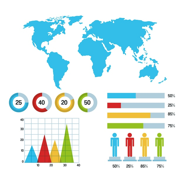 World map infographic demographic statistics graphs bars chart world map infographic demographic statistics graphs bars chart premium vector ccuart Images
