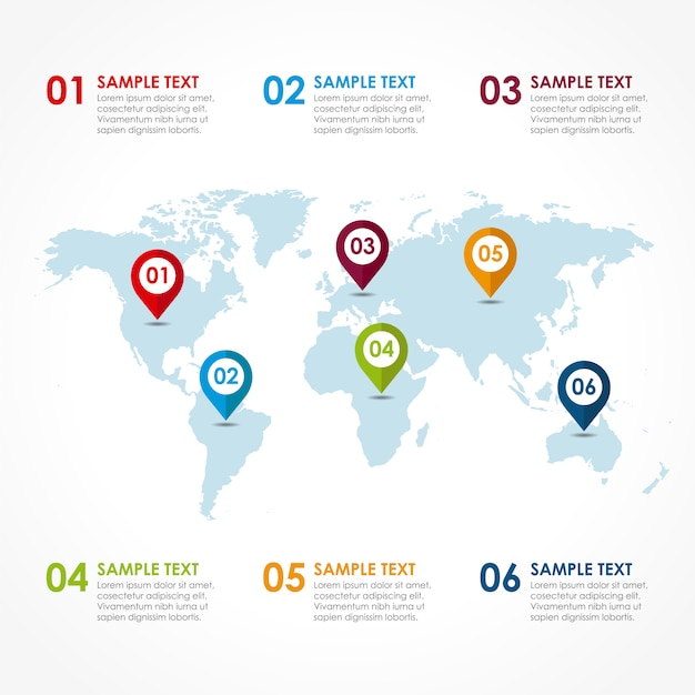 World map infographic design vector free download world map infographic design free vector gumiabroncs Gallery
