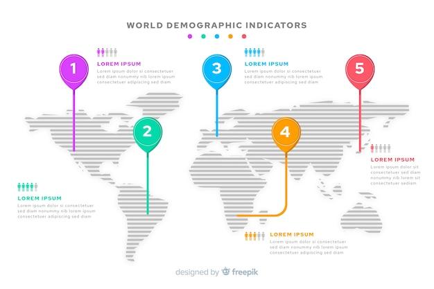World map infographic mark destination Free Vector