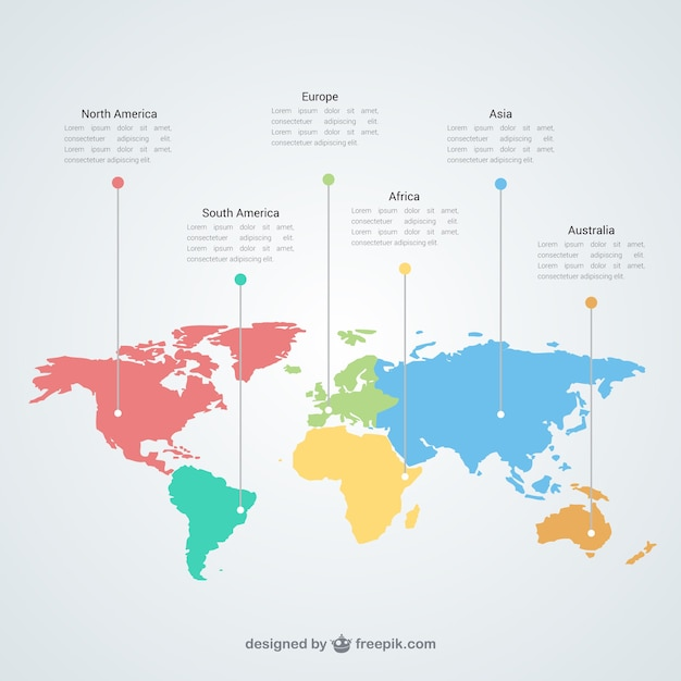 World map infographic template Vector Free Download