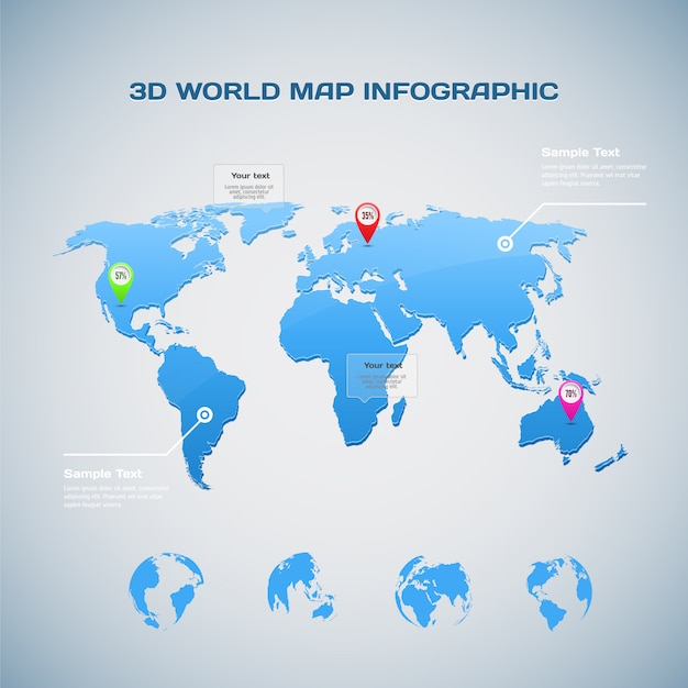World map infographic with globe icons Premium Vector
