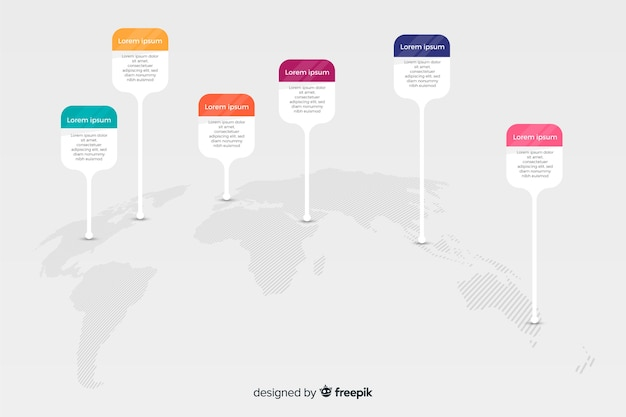 World map infographic with icon options Free Vector