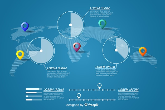 World map infographic with pinpoints and statistics Free Vector