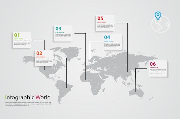 World map infographic, world map information Premium Vector