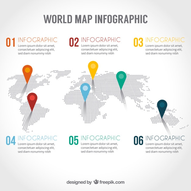 World map infographic vector free download world map infographic free vector gumiabroncs Gallery