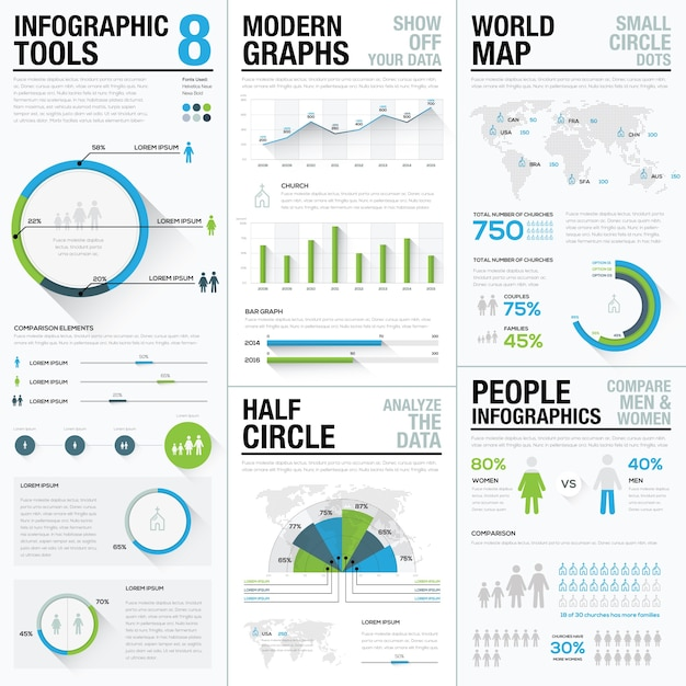 World map infographics & business visualization vector elements Premium Vector