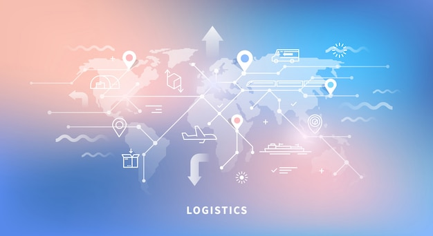 World map of logistics Premium Vector