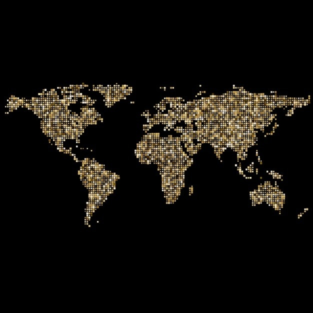 World map made of small golden dots vector free download world map made of small golden dots free vector gumiabroncs Gallery