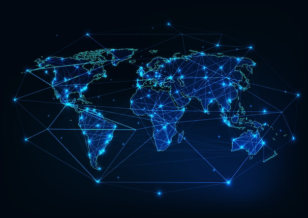 World map mesh with continents outline made of lines, dots, stars, triangles. Premium Vector
