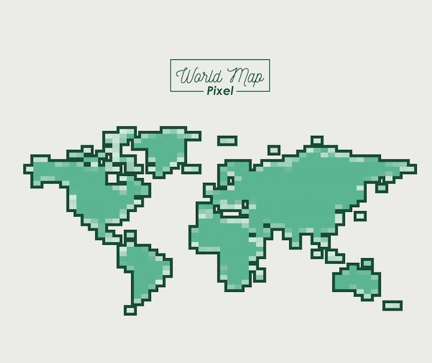 World map pixel in green color silhouette vector premium download world map pixel in green color silhouette premium vector gumiabroncs Choice Image