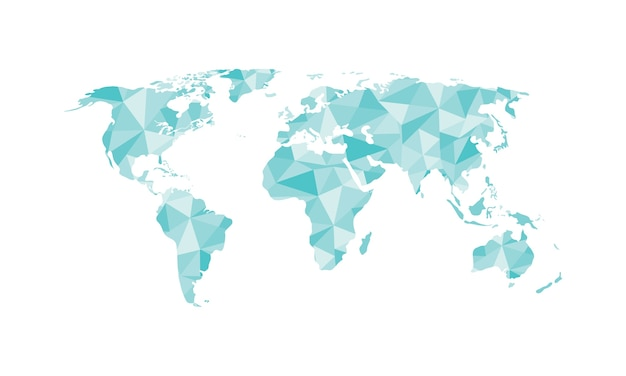 World map polygon vector isolated on white background