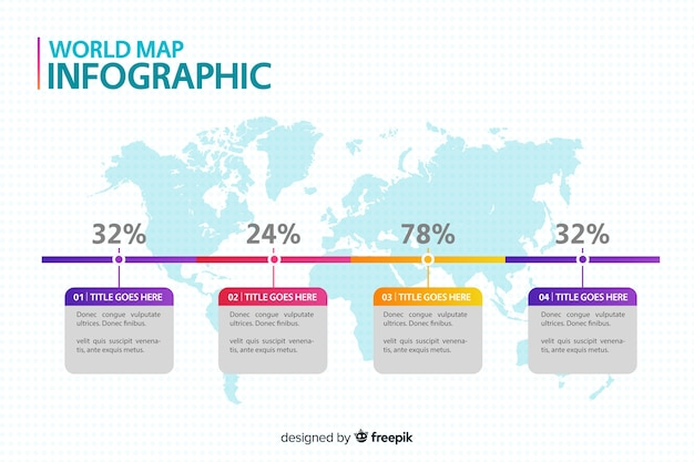 World map professional infographic Free Vector