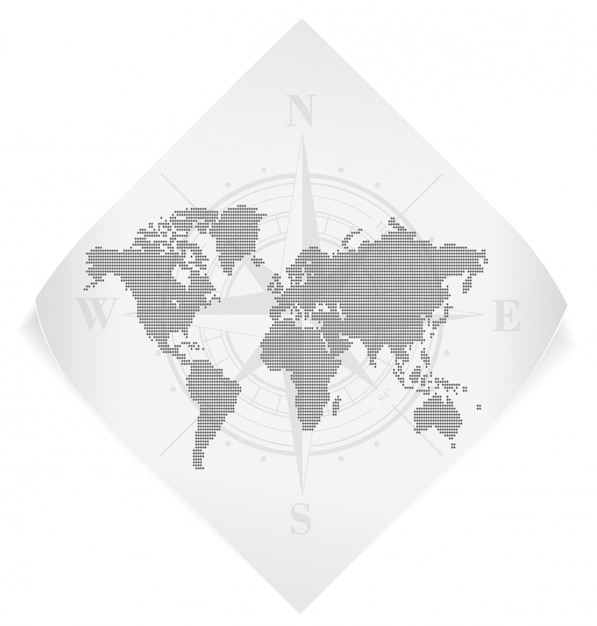 World map over white paper sticker isolated on white Premium Vector