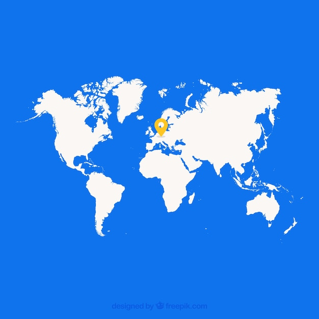 World map with a mark on europe Vector Free Download
